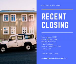 Recent Closing - Hyattsville - 10.16.17